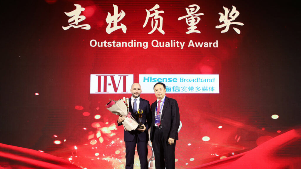 II-VI Incorporated Wins Awards for Core Supplier and Outstanding Quality from Hisense